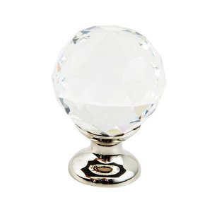 "Schaub and Company 1 1/8"" Round Knob in Polished Nickel and Clear Crystal"