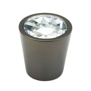 "Schaub and Company - Fire Collection - 1 1/16"" Cylinder Knob in Bronze and Clear Glass"