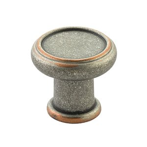 """Schaub and Company 1 1/4"""" Diameter Knob in Distressed Pewter/Copper"""