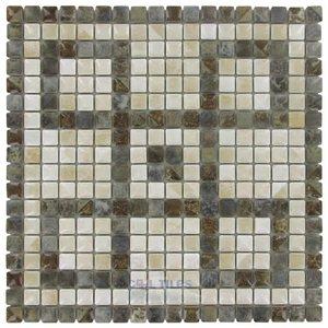 "Stellar Tile 5/8"" x 5/8"" Porcelain Mosaic Tile in Noce Slate/Perla Bone"