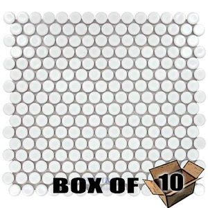 "Stellar Tile One Case of 3/4"" Circle Porcelain Mosaic Tile in Glossy White"