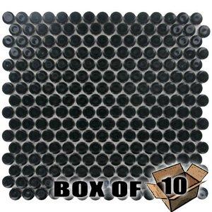 "Stellar Tile One Case of 3/4"" Circle Porcelain Mosaic Tile in Black"