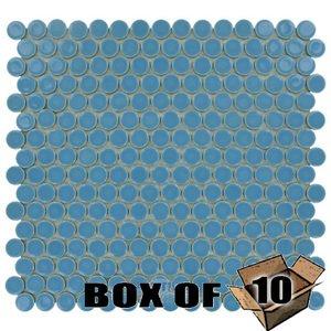 "Stellar Tile One Case of 3/4"" Circle Porcelain Mosaic Tile in Lite Blue"