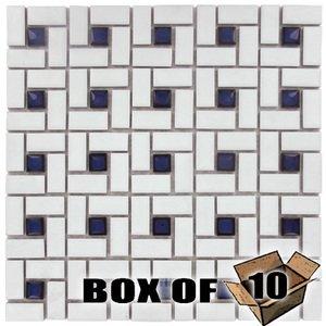 "Stellar Tile 1"" x 2"" Porcelain Mosaic Tile in White & Cobalt"
