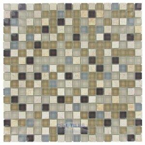 "Stellar Tile 5/8"" x 5/8"" Glass & Stone Mosaic Tile in River"
