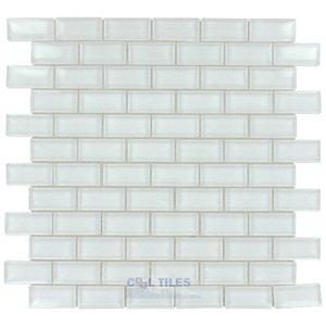 "Stellar Tile 1"" x 2"" Glass Mosaic Tile in Ice White"