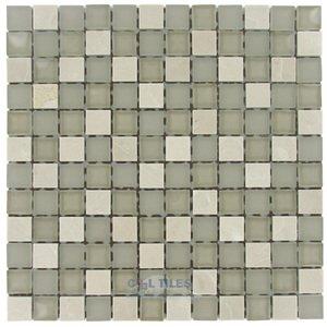 "Stellar Tile 1"" x 1"" Glass & Stone Mosaic Tile in Sandstone"