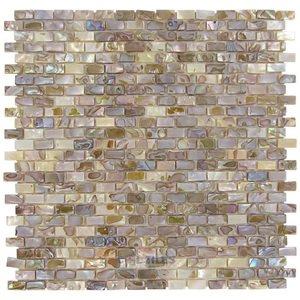 """Stellar Tile 1/2"""" x 1"""" Shell Mosaic Tile in Perla"""