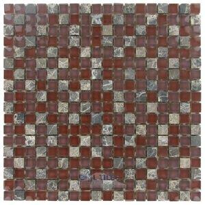 "Stellar Tile 5/8"" x 5/8"" Glass & Stone Mosaic Tile in Bordeaux"