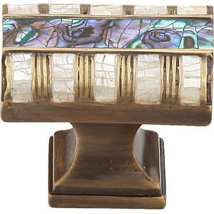 Schaub and Company Solid Brass Rectangle Knob in Aged Dover with Imperial Shell and Mother of Pearl