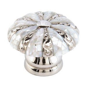 Schaub and Company Round Knob with Mother of Pearl Inlaid on Solid Brass in Polished Nickel with Mother of Pearl