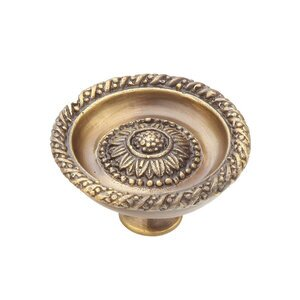 "Schaub and Company Solid Brass 1 3/8"" Diameter flower Knob in Estate Dover"