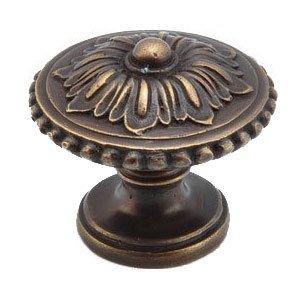 "Schaub and Company 1 1/4"" Diameter Solid Brass Floral Beaded Knob in Dark Antique Bronze"