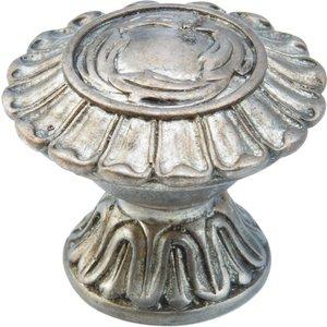"""Schaub and Company Solid Brass 1 1/4"""" Knob In Monticello Silver"""