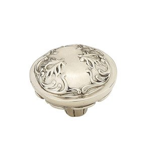 """Schaub and Company Solid Brass 1 3/8"""" Diameter Round Knob with Scrolled Designs with Petals on Base in White Brass"""