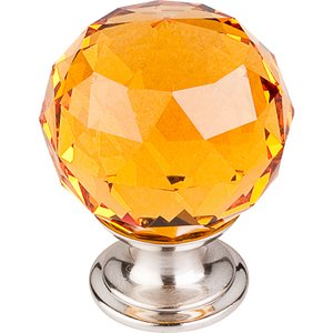 "Top Knobs 1 3/8"" (35mm) Diameter Knob in Amber Crystal with Brushed Satin Nickel"