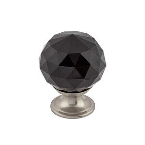 "Top Knobs 1 3/8"" (35mm) Diameter Knob in Black Crystal with Brushed Satin Nickel"