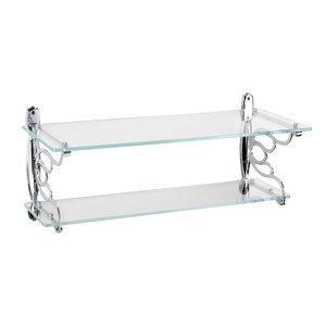 """Topex Cabinet Knobs 23 1/2"""" x 9 1/4"""" Wall Mounted Double Glass Bath Shelf in Chrome"""