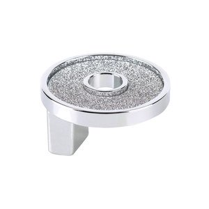 """Topex Cabinet Knobs 1 1/4"""" Small Round Knob With Hole - Sparkling Swarovski in Chrome"""