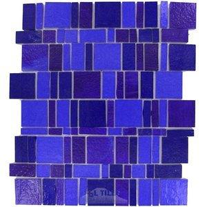 Vicenza Mosaico Glass Tiles Handcut Glass Mesh Mounted Sheets In Azul