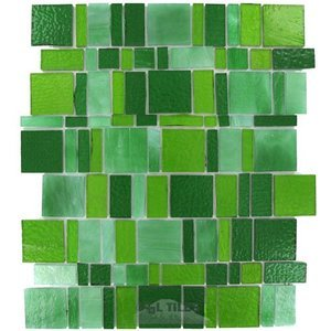 Vicenza Mosaico Glass Tiles Handcut Glass Mesh Mounted Sheets In Verde