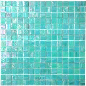 """Vicenza Mosaico Glass Tiles 3/4"""" Glass Film-Faced Sheets in Water Lily"""
