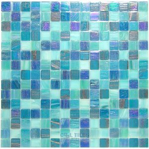 Vicenza Mosaico Glass Tiles Film-Faced Sheets in Rocky