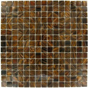 "Illusion Glass Tile 3/4"" x 3/4"" Glass Mosaic Tile in Bamboo Bronze"