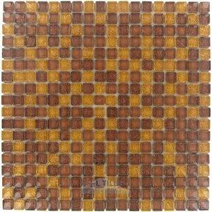 "Illusion Glass Tile 5/8"" x 5/8"" Glass Mosaic Tile in Cinnamon Glitter"