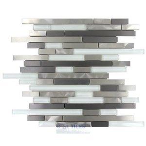 Illusion Glass Tile Mosaic Tile in Titanium, Stainless & White