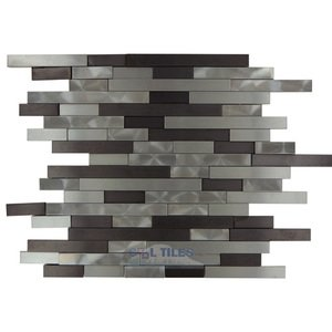 Illusion Glass Tile 3D Random Linear Mosaic in Brushed & Polished Mixed Metal