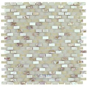 Illusion Glass Tile Mini Brick Mosaic in Pearl Beach