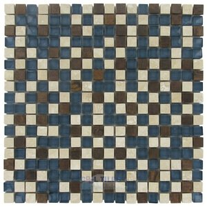 """Illusion Glass Tile 5/8"""" x 5/8"""" Stone, Glass & Metal Mosaic Tile in Paradise Cove"""