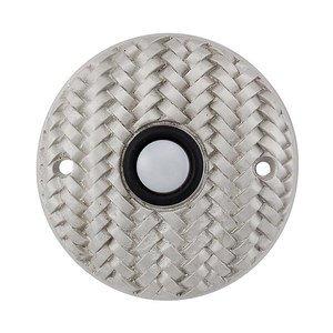Vicenza Hardware Door Bells Collection Round Cestino Weave Design in Satin Nickel