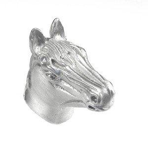 Vicenza Hardware Large Horse Head Knob in Satin Nickel