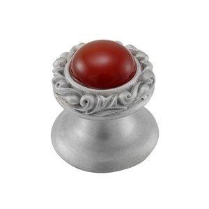 Vicenza Hardware Round Gem Stone Knob Design 3 in Satin Nickel with Carnelian Insert