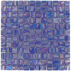 "Mosaic Glass Tiles by Vidrepur - Moon Collection 1"" x 1"" Recycled Glass Tile on 12 3/8"" x 12 3/8"" Mesh Backed Sheet in Saturn"