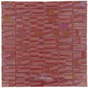 "Vidrepur 1"" x 2"" Recycled Glass Tile on 12 3/8"" x 12 3/8"" Mesh Backed Sheet in Mars"