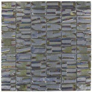 "Vidrepur 1"" x 2"" Recycled Glass Tile on 12 3/8"" x 12 3/8"" Mesh Backed Sheet in Super Nova"