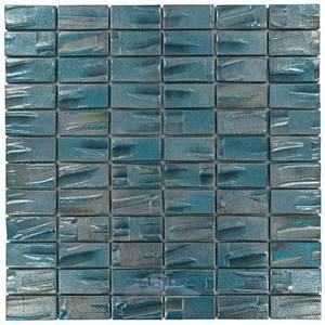 Moon 1 x 2 Recycled Glass Tile on 12 38 x 12 38 Mesh