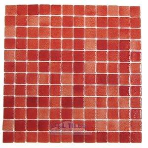 Vidrepur Recycled Glass Tile Mesh Backed Sheet in Fog Red