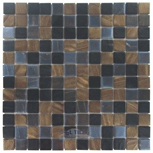 """Vidrepur 1"""" x 1"""" Recycled Glass Tile on 12 1/2"""" x 12 1/2"""" Mesh Backed Sheet in Java Mix"""