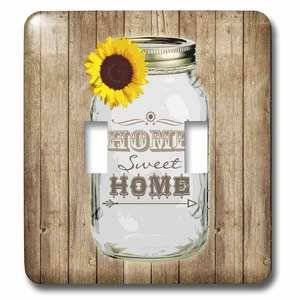 Jazzy Wallplates Double Toggle Switchplate With Country Rustic Mason Jar With Sunflower - Home Sweet Home