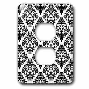 Jazzy Wallplates Single Duplex Wallplate With Black And White Damask 2