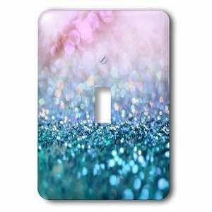 Jazzy Wallplates Single Toggle Wallplate With Sparkling Teal Blue Luxury Shine Elegant Mermaid Glitter