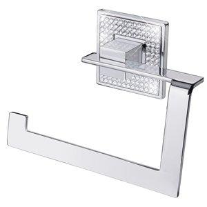 "Zen Designs Toilet Paper Holder W 5 3/4"" x H 4 3/8"" in Polished Chrome With Swarovski Crystals"