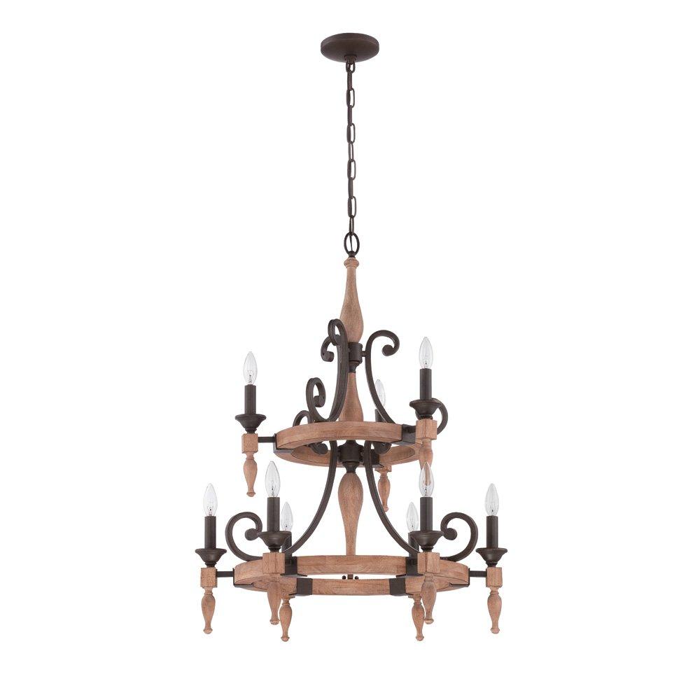 Jeremiah Glenwood Lighting 9 Light Two Tier Chandelier In Aged Bronze Distressed Oak