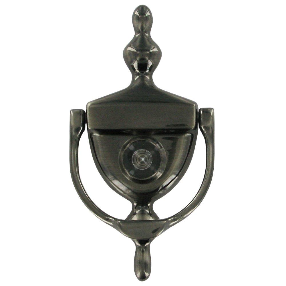 Door accessories solid brass door knocker with viewer in antique nickel deltana hardware - Brass door knocker with viewer ...