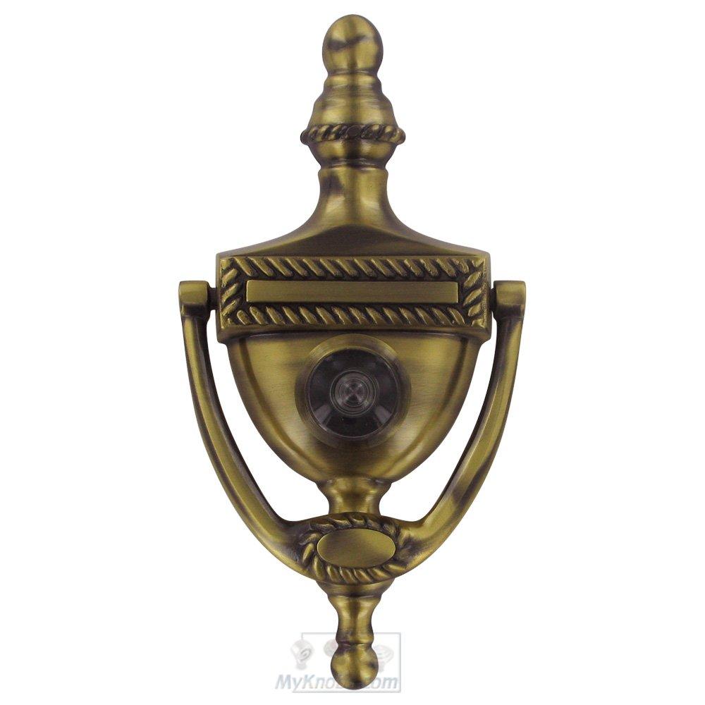 Door accessories solid brass victorian rope door knocker with viewer in antique brass - Brass door knocker with viewer ...