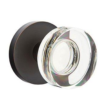 Emtek Hardware Single Dummy Modern Disc Crystal Door Knob with Disk Rose in Oil Rubbed Bronze